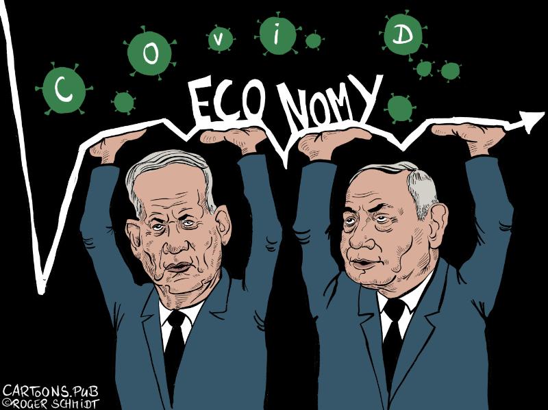 Karikatur, Cartoon: Benny Gantz und Bibi Netanyahu © Roger Schmidt