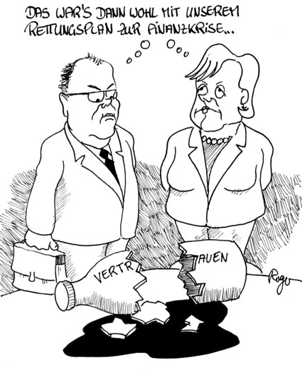 Karikatur, Cartoon: Beratungsresistent in die Finanzkrise..., © Roger Schmidt