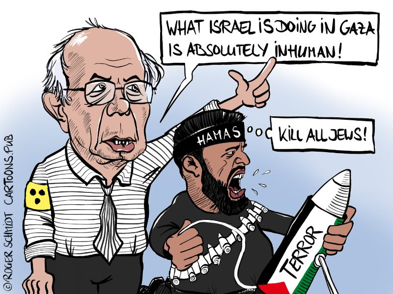 Karikatur, Cartoon: Bernie Sanders verklärter Blick auf Hamas © Roger Schmidt