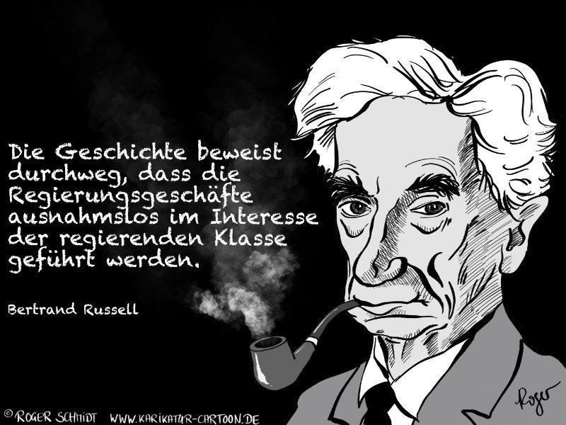 Karikatur, Cartoon: Bertrand Russell - Das Interesse von Regierungen, © Roger Schmidt