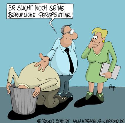 Karikatur, Cartoon: Fehlende Perspektive im Beruf, © Roger Schmidt