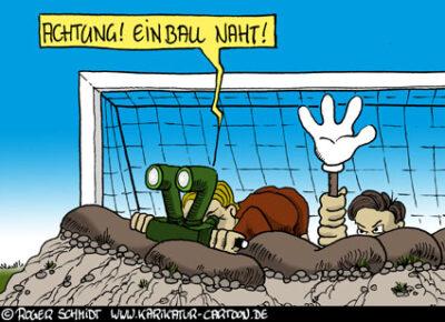 Karikatur, Cartoon: Bester Abwehrspieler der Bundesliga, © Roger Schmidt