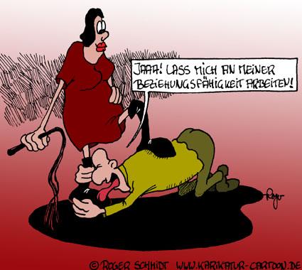 Karikatur, Cartoon: Beziehungsarbeit, © Roger Schmidt