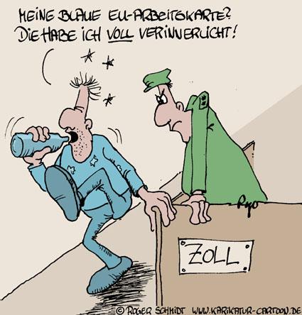 Karikatur, Cartoon: Blue-Card, © Roger Schmidt