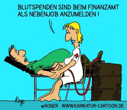 Karikatur, Cartoon: Blutspende als Nebenjob, © Roger Schmidt