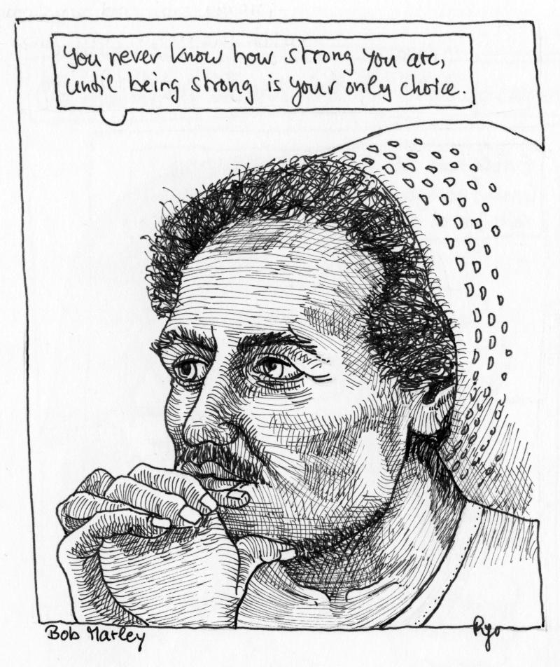 Karikatur, Cartoon: Bob Marley © Roger Schmidt