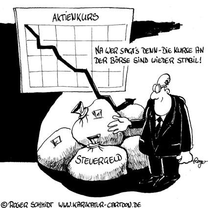 Karikatur, Cartoon: Aktienkurs und Börse, © Roger Schmidt