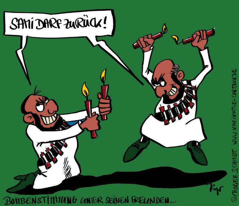 Karikatur, Cartoon: Bombenstimmung mit Sami A., © Roger Schmidt
