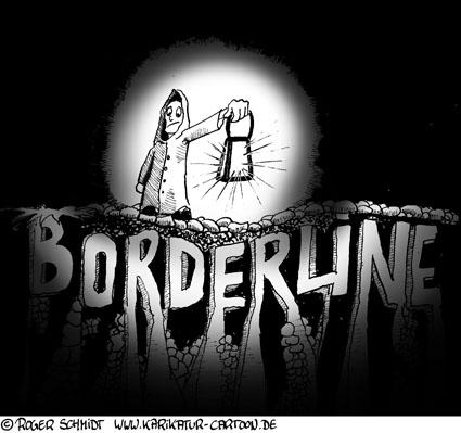 Karikatur, Cartoon: Borderline-Persönlichkeitsstörung, © Roger Schmidt