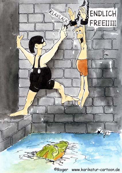 Karikatur, Cartoon: Monsieur Boureau - endlich frei, Krokodil, © Roger Schmidt