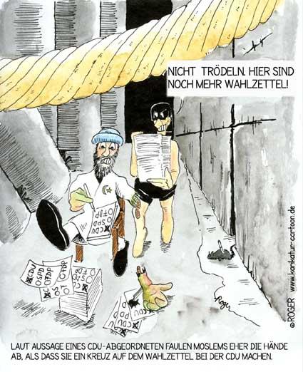 Karikatur, Cartoon: Faulende Hände, © Roger Schmidt