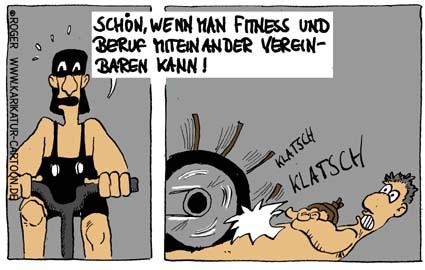 Karikatur, Cartoon: Beruf und Fitness, © Roger Schmidt