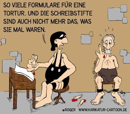 Karikatur, Cartoon: Folter, Tortur, © Roger Schmidt