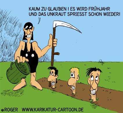 Karikatur, Cartoon: Unkraut im Frühjahr, © Roger Schmidt