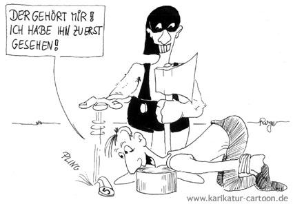 Karikatur, Cartoon: Finderlohn, © Roger Schmidt
