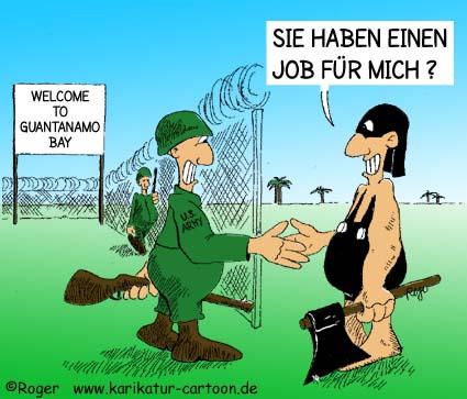 Karikatur, Cartoon: Guantanamo Bay, © Roger Schmidt