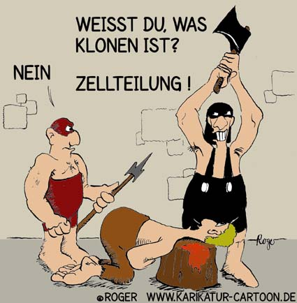 Karikatur, Cartoon: Klonen, © Roger Schmidt