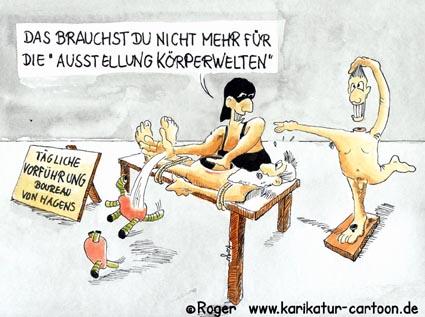 Karikatur, Cartoon: Monsieur Boureau - Körperwelten, © Roger Schmidt