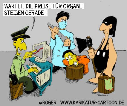 Karikatur, Cartoon: Hinrichtung und Organspende, © Roger Schmidt