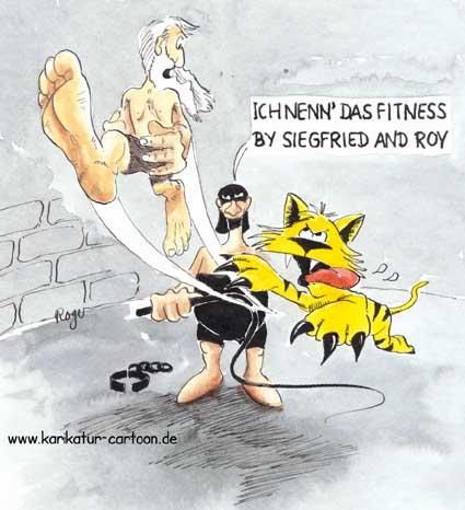 Karikatur, Cartoon: Monsieur Boureau - Siegfried and Roy, © Roger Schmidt