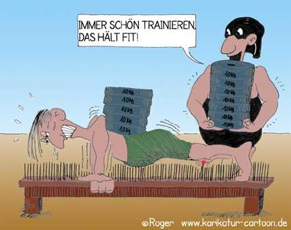 Karikatur, Cartoon: Training, Body-Building, © Roger Schmidt