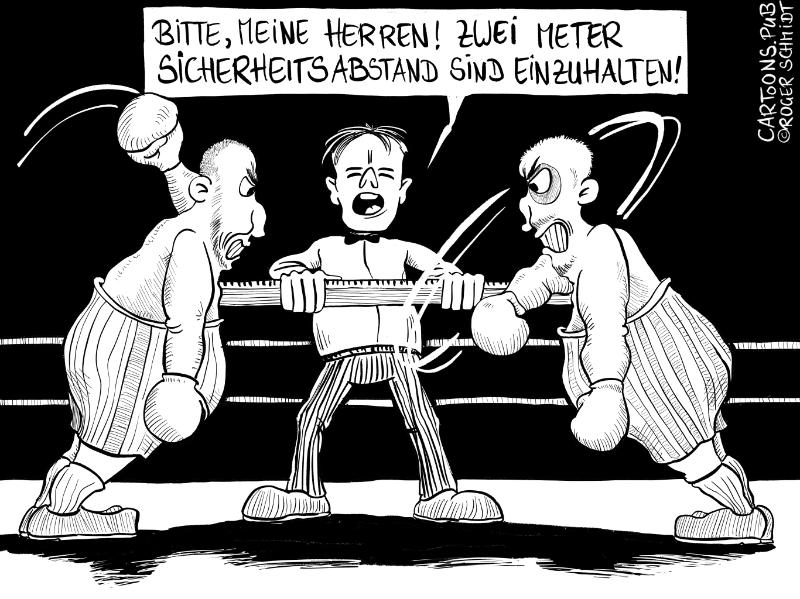 Karikatur, Cartoon: Boxkampf, Sicherheitsabstand und Social Distancing © Roger Schmidt