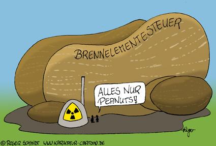 Karikatur, Cartoon: Brennelementesteuer - eine Erklärung, © Roger Schmidt