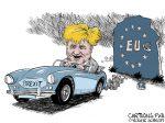Karikatur, Cartoon: Boris Johnson gewinnt Brexit © Roger Schmidt