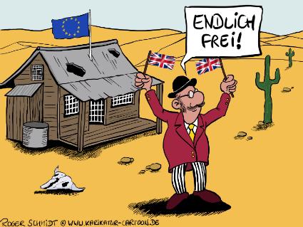 Karikatur, Cartoon: Brexit - Endlich frei!, © Roger Schmidt