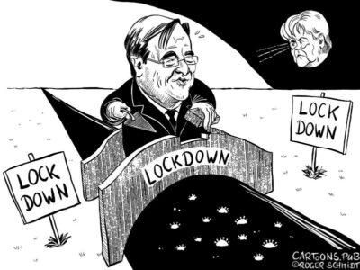 Karikatur, Cartoon: Laschets Brückenlockdown © Roger Schmidt