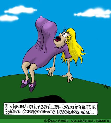 Karikatur, Cartoon: Brustvergrößerung mit dem richtigen Brustimplantat, © Roger Schmidt