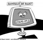 Karikatur, Cartoon: Buchhändler der Zukunft, © Roger Schmidt