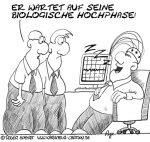 Karikatur, Cartoon: Der Büroschlaf und die biologische Hochphase, © Roger Schmidt