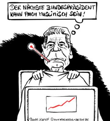 Karikatur, Cartoon: Bundespräsident Gauck schwer erkrankt, © Roger Schmidt