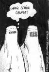 Karikatur, Cartoon: Modische Burka, © Roger Schmidt