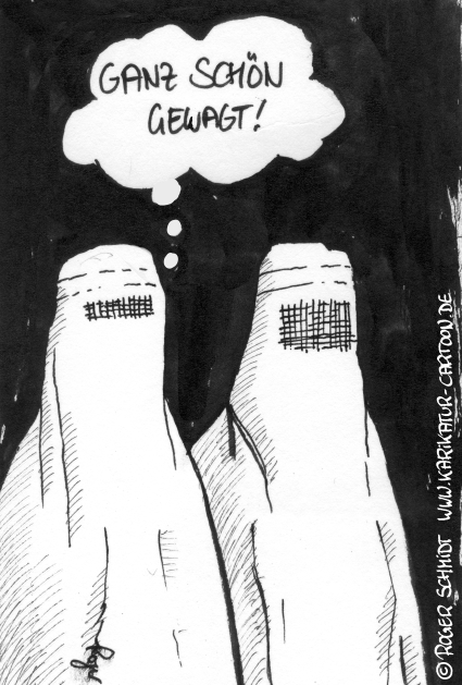 Karikatur, Cartoon: Modische Burka, © Roger Schmidt