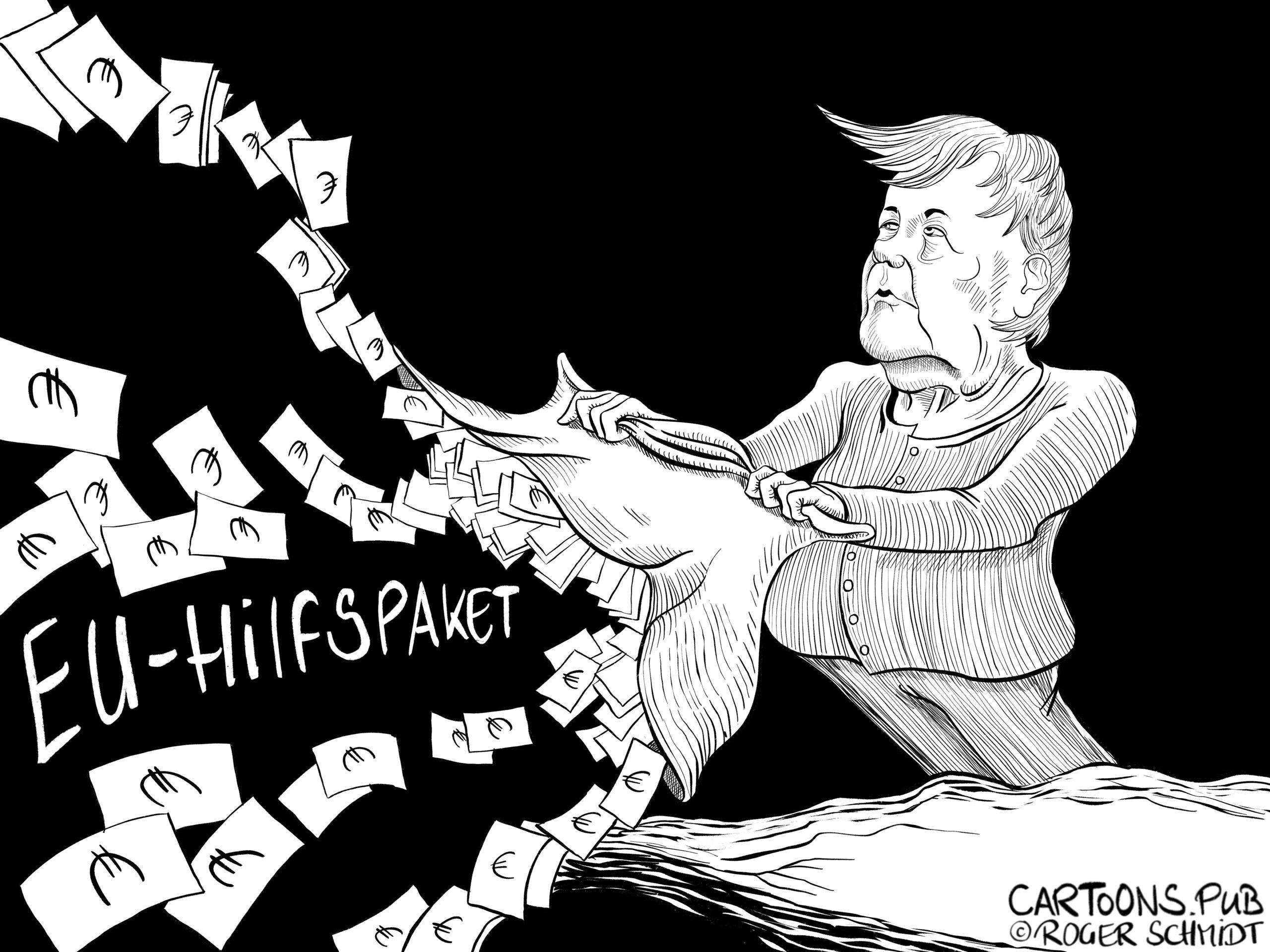 Karikatur, Cartoon: EU-Hilfspaket © Roger Schmidt