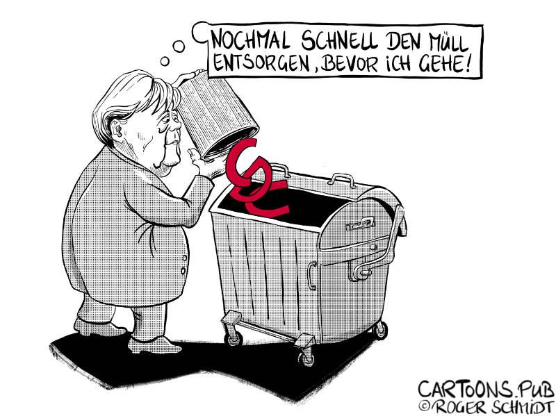 Karikatur, Cartoon: CDU ab in die Mülltonne © Roger Schmidt