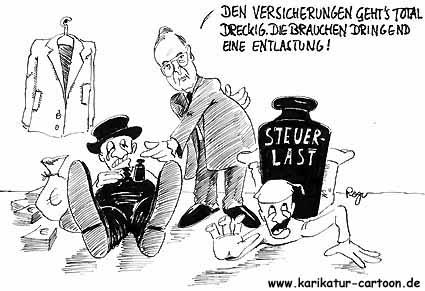 Karikatur, Cartoon: Finanzprobleme der Versicherungen, © Roger Schmidt