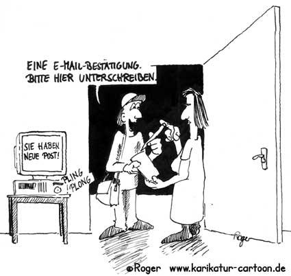 Karikatur, Cartoon: E-Mail mit Wahl am Computer, © Roger Schmidt