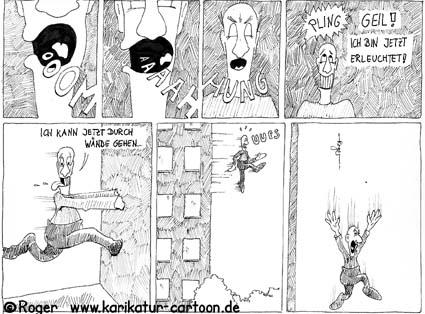 Karikatur, Cartoon: Buddhismus - Erleuchtung, © Roger Schmidt