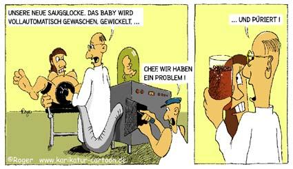 Karikatur, Cartoon: Schwangerschaft, Geburt, © Roger Schmidt