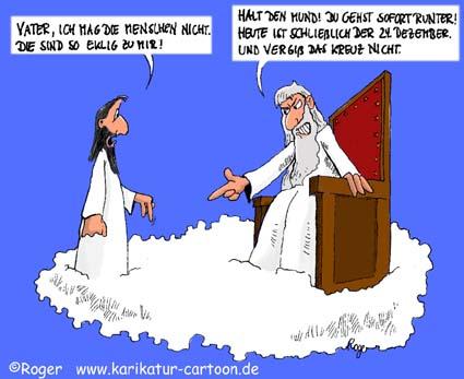Karikatur, Cartoon: Gott spricht ein Machtwort, © Roger Schmidt