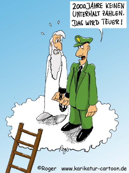 Karikatur, Cartoon: Unterhalt, Unterhaltszahlung, © Roger Schmidt