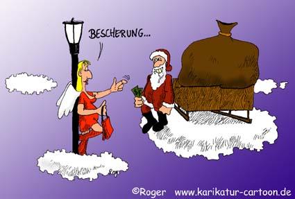 Karikatur, Cartoon: Die Nutte und der Weihnachtsmann, © Roger Schmidt