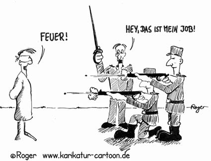 Karikatur, Cartoon: Der Job ist weg, © Roger Schmidt