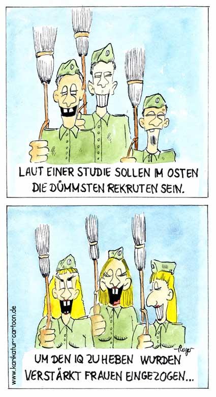 Karikatur, Cartoon: Frauen zur Bundeswehr, © Roger Schmidt