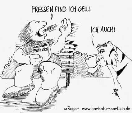 Karikatur, Cartoon: DIck, Dicke, Dicker, XXXL, © Roger Schmidt