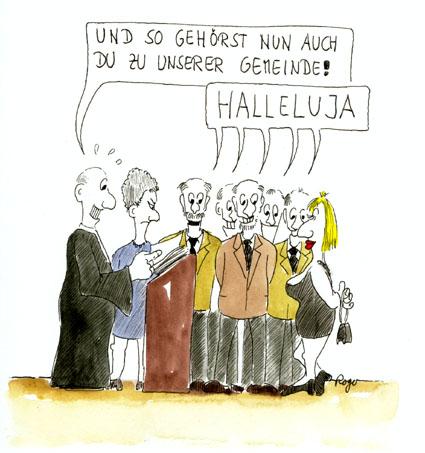 Karikatur, Cartoon: Konfirmation, © Roger Schmidt
