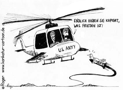 Karikatur, Cartoon: Helicopter, Hubschrauber, Frieden, Irak, © Roger Schmidt